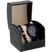 Popmode Black Blue Dial Silicone Strap Men's Casual Fashion Analog Watch and Black Gold Lava Rock Fashion Bracelet combo