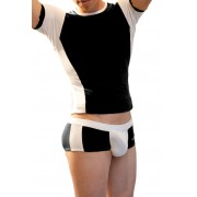 Icker Sea Matching T Shirt & Boxer Brief Set Black & White COR-16-07