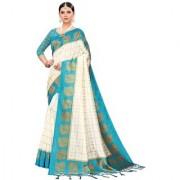 Indian Beauty Women's Sky Blue Color Mysore Silk Printed Saree Border Tassels With Blouse Piece(WEDDING-BATAK-SKY_Free Size)