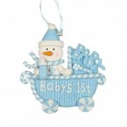 Decoratiune carucior bleu Baby's 1st Christmas