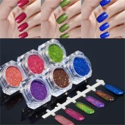 6 Colors Holo Glitter Laser Powder Kit Nail Art Gorgeous Pigment DIY Decoration