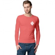 Cliths Orange Round Neck Full Sleeves Cotton Printed Tshirts for Men