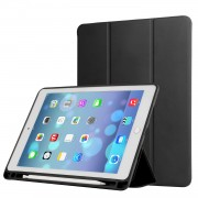 Napa Grain PU Leather Tri-fold Stand Smart Cover with Pen Slot for iPad Air 10.5 (2019) / Pro 10.5-inch (2017)- Black