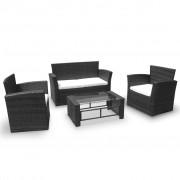 vidaXL Loungegrupp 8 delar konstrotting svart