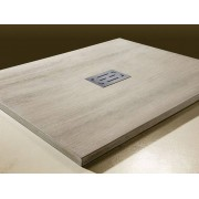 Grandform Receveur de douche Sculpture effet bois Grandform 100x80 - Couleur: Gravier mari