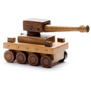 BuzyKart Beautiful Wooden Vintage War Tank Toy Cum Showpiece