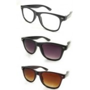 kingsunglasses Wayfarer Sunglasses(Clear, Black, Brown)