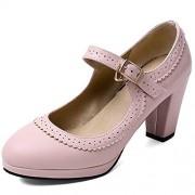 DoraTasia Zapatos de tacón Estilo clásico Mary Jane para Mujer, cómodos, de Piel, Estilo Lolita, Casual, con tacón de Bloque, para niñas, 2 Rosa, 10