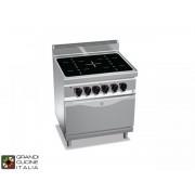 Bertos Grandicucineitalia.it - Attrezzature per ristorazione - Cucina Elettrica ad Infrarossi - 4 Zone - Forno Elettrico Statico GN 2/1 - Cod. E7P4VTRFE - Bertos