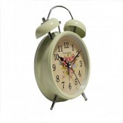 6th Dimensions Vintage Off White 4.5 INCH Display Metal Twin Bell Alarm Table Clock With Light