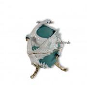 Böhme Musikspieluhren Schmuck Ei türkis mit weißen Schwänen und Spieluhr nach Faberge-Art aus emailiertem Metall
