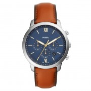 Fossil FS5453 Horloge Neutra Chrono staal/leder zilverkleurig-cognac 44 mm