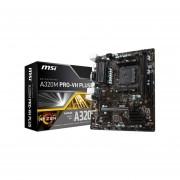 T. Madre MSI A320M PRO-VH PLUS, ChipSet AMD A320, Soporta, Procesador AMD 7th Generación A-series / Athlonde Socket AM4, Memoria, DDR4 1866/2667/3200(OC)MHz, 32GB Max, Integrado, Audio HD, USB 3.0 Y SATA 3.0, MATX, Ptos, 1xPCIE3.0x16,
