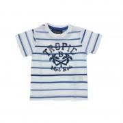 Tricou baieti cu dungi si imprimeu,(culoare alb/albastru), Mayoral 9luni