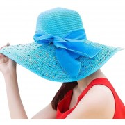 de paja de ala de colorido para de ala ancha para el sol nuevoss de playa plegable Bowknot para verano HX0130 Sombrero LANG(#Azul)