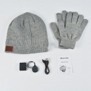 Bluetooth Headphones Winter Hat Warm Music Hat with Mic Gloves Wireless Headphone - Light Grey