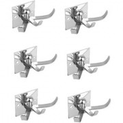 Kurvz Square Shape Flexible 4 Pin Cloth Hanger Bathroom Wall Door Hooks For Hanging keys Clothes towel (Pack of 6)