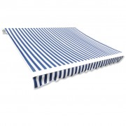 vidaXL Awning Top Sunshade Canvas Blue & White 6x3m