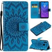 XiaoMinDian-Phone Case XiaoMinDian Estuche para teléfono Girasol Impresión PU de Cuero Flip Cartera Lanyard Estuche Protector con Ranura para Tarjeta de Soporte para Huawei Y7 Anti-patín de Cubierta (Color : Blue)