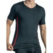 Olaf Benz RED 1435 V Neck Short Sleeved T Shirt Black/Red 1-06828/8000-