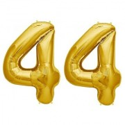 De-Ultimate Solid Golden Color 2 Digit Number (44) 3d Foil Balloon for Birthday Celebration Anniversary Parties