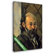 Paul Cézanne: Cézanne önarckép, mintás tapéta előtt (20x25 cm, Vászonkép )