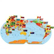 Children Wooden Puzzle World Map Flag Matching Puzzle Toy Kids Geography Jigsaw Puzzles Toy S
