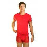 Lookme OPEN SPIRIT Sheer Rivet Short Sleeved T Shirt Red 32-81