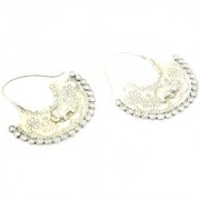 Designer Hook Earrings Elephant 925 Sterling Silver Zircon Stone Hand Engraved