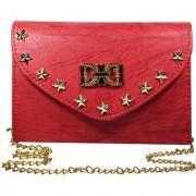 Adbeni Women Casual Red PU Sling Bag