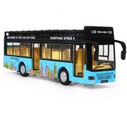 Emob Double Decker Metal Pull Back Blue City Bus Toy with Light and Sound Features (Multicolor)