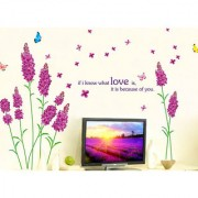 Vinyl Flowers Designs Purple Hydrangea Blowing With Love Quote And Colourful Butterflies Wall Sticker
