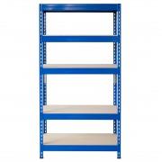 Bezskrutkový kovový regál s HDF policou 180x90x30cm, 5 políc, 200kg na policu, modrá farba