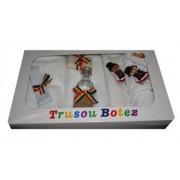 Trusou pentru botez 7 piese brodat cu figurina Traditional popular baiat Little Angel multicolor