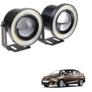 Auto Addict 3.5 High Power Led Projector Fog Light Cob with White Angel Eye Ring 15W Set of 2 For Maruti Suzuki Ciaz