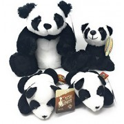 Plush Panda Cuddly Family Bundle - Medium Panda, Small Panda and Two Tiny Pandas (Four Plush Toys)