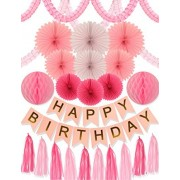 Meant2Tobe Pink and Gold Birthday Party Decoration- 24Pcs Decors Supplies, Happy Banner, Paper Tassels, Letters Bunting Stylish Decorations,