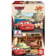 Puzzle din lemn Educa - Disney Cars 2 - Flash McQueen, Grem and Acer, 2x25 piese (14935)