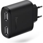 Зарядно 220V HAMA Auto-Detect 5 V/4.8 A, 2x USB, черен
