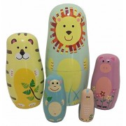 EVINIS5 Pcs Cute Animal Doll Wooden Russian Nesting Dolls Matryoshka Wood Nested Stacking Dolls