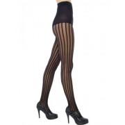 Vegaoo Zwarte panty met strepen voor vrouwen One Size