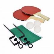Jogo de Ping Pong com 2 Raquetes de Madeira + 3 Bolas + Rede + Suporte