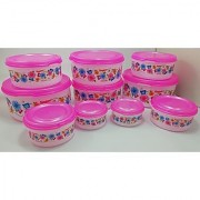 Plastic Food Storage Containers Set of 10 PCS (2500 ml 1800 ml 1000 ml 500 ml 250ml) Pink