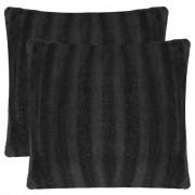 vidaXL Huse de pernă din blană artificială, 80 x 80 cm, negru, 2 buc.