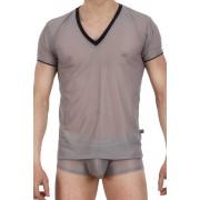 L'Homme Invisible V Neck Short Sleeved T Shirt Grey/Black MY61D-GRI-027