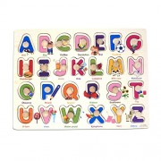 Parteet Wooden Colorful Learning Letters Alphabets Board for Kids with Knobs, Educational Learning Wooden Tray (Capital Letters, Multi Color)