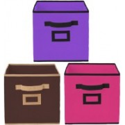 Billion Designer Non Woven 3 Pieces Small Foldable Storage Organiser Cubes/Boxes (Coffee & Pink & Purple) - CTKTC35181 CTLTC035181(Coffee & Pink & Purple)