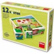 Puzzle din lemn cuburi La ferma 12buc 6 imagini posibile