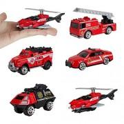 Fantarea 5Pcs Alloy Sports Car Ambulance Patrol Wagon Army Truck Model Toys for Children (Fire Fighting Truck)