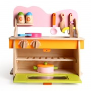 Wooden Kitchen Hearth Toys Set Children Play House Cut Up Vegetables Cooking Kitchenette Educational Toy